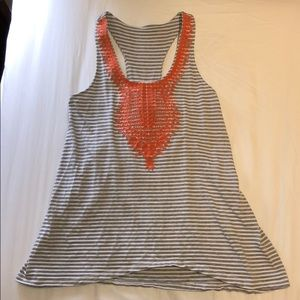 Tops - Gray and white stripes sleeveless top XS